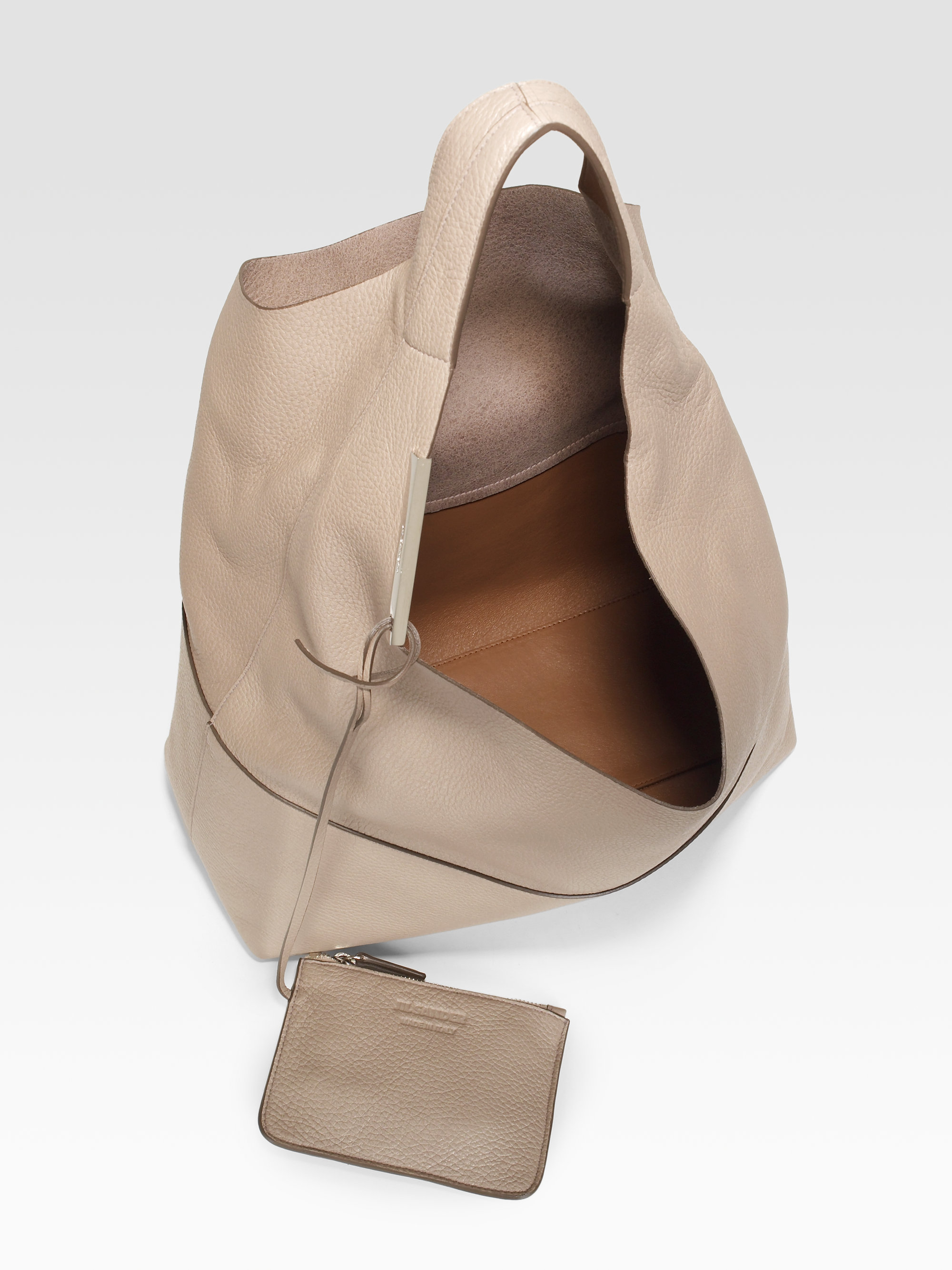 Lyst - Jil Sander Soft Shoulder Hobo in Natural 1af3084635de9