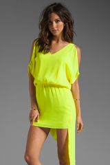 Mason by Michelle Mason Open Shoulder Asymmetric Dress - Lyst