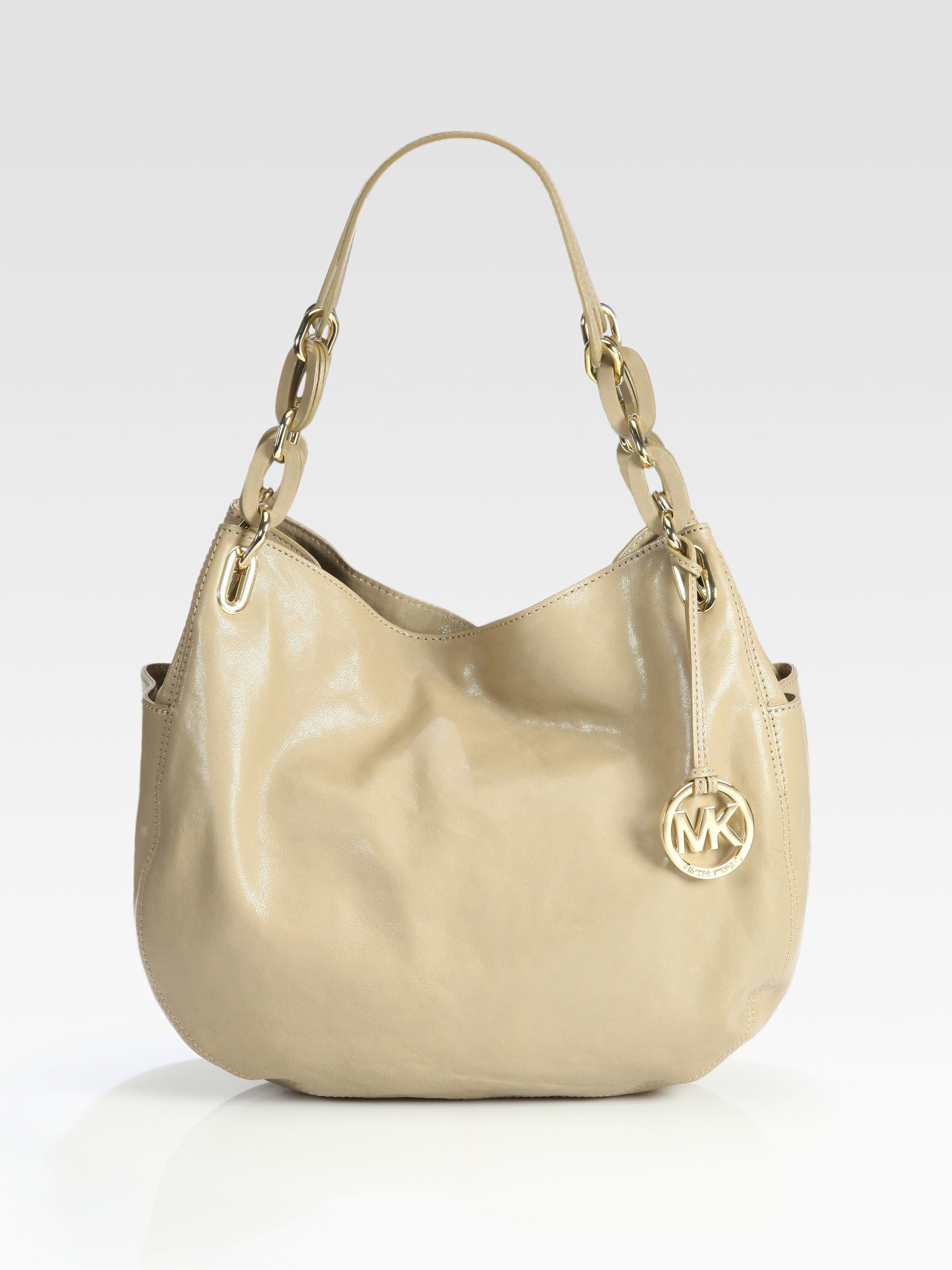 f896896502ae ... ireland lyst michael michael kors lilly medium leather shoulder bag in  natural f7faa f72a7