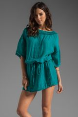 Michael Stars Textured Linen Yael Elbow Sleeve Boatneck Tunic Dress - Lyst