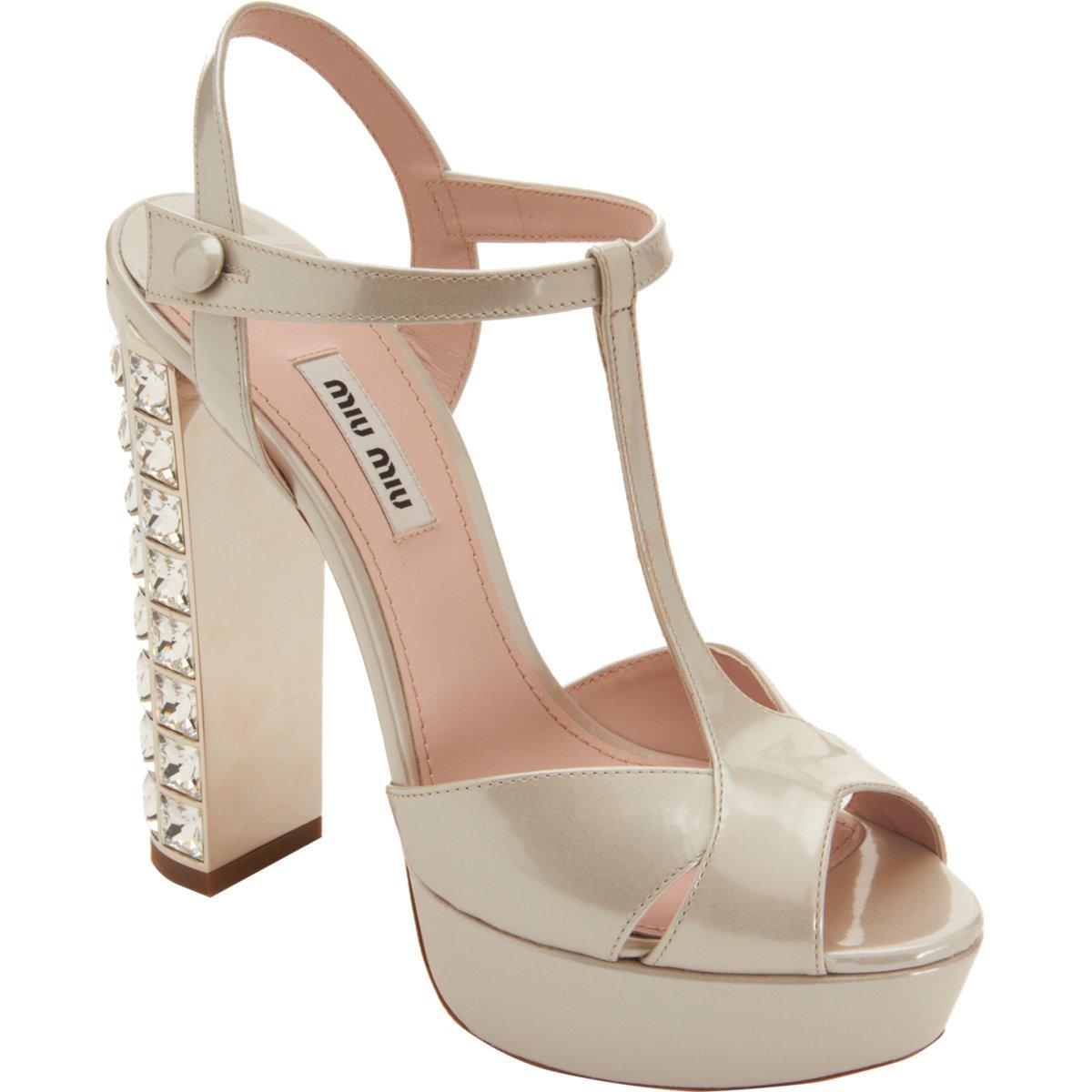 a4fcdbd0915f85 Miu Miu Tstrap Jeweled Heel Sandal in Metallic - Lyst