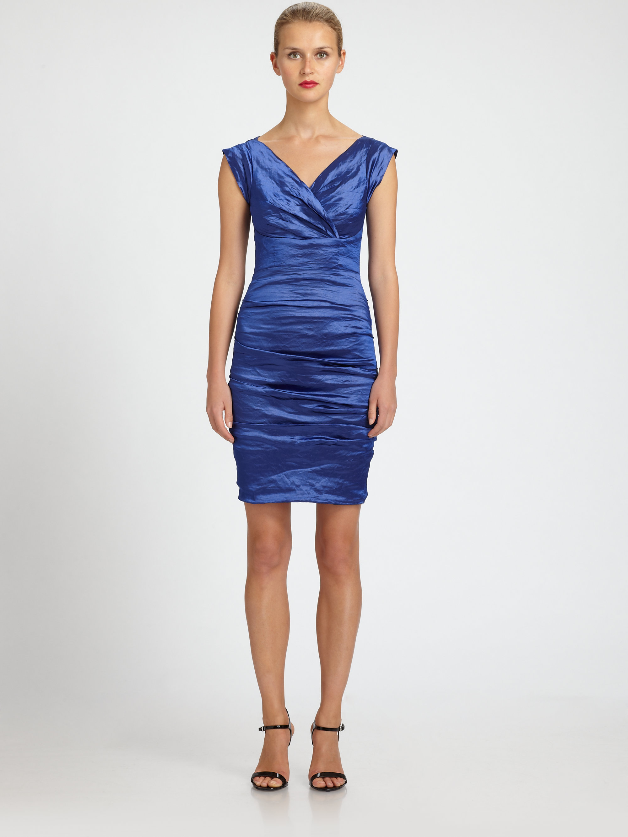 Lyst Nicole Miller Ruched Taffeta Dress In Blue