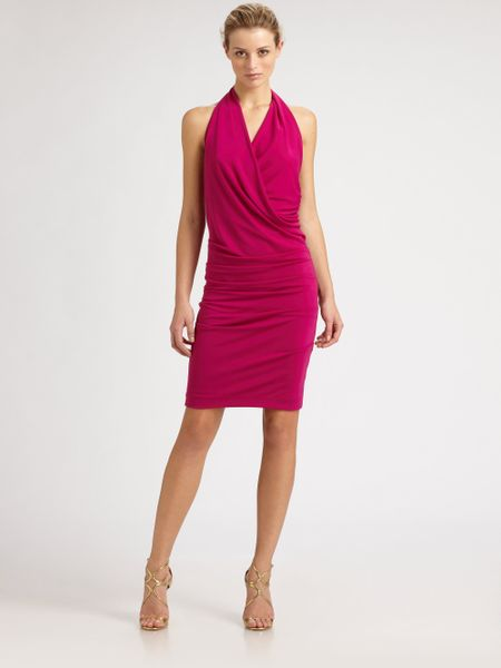Nicole Miller Silk Halter Dress in Pink - Lyst