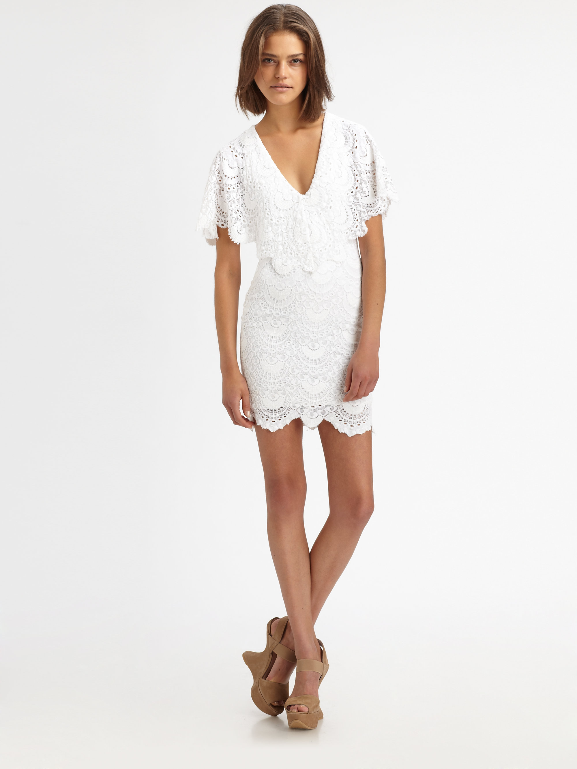 6415f98cc0 Nightcap Spanish Lace Poncho Dress in White - Lyst