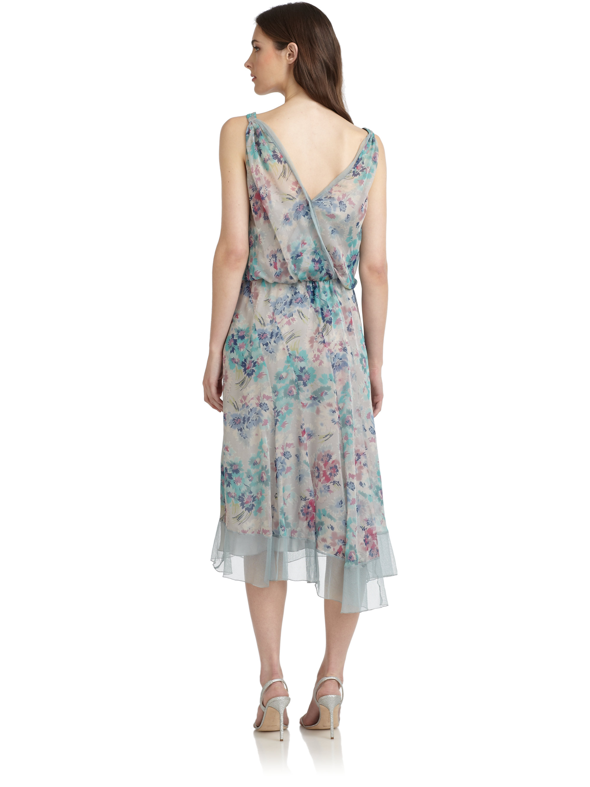 Philosophy di alberta ferretti Floral Silk Chiffon Dress in Blue ...