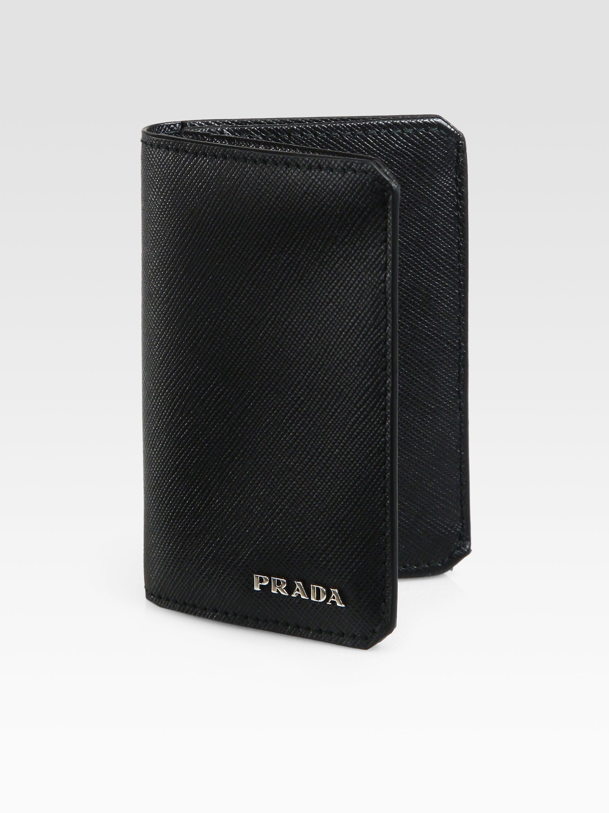 2ad47f39ea49 Prada Saffiano Leather Credit Card Case in Black for Men - Lyst
