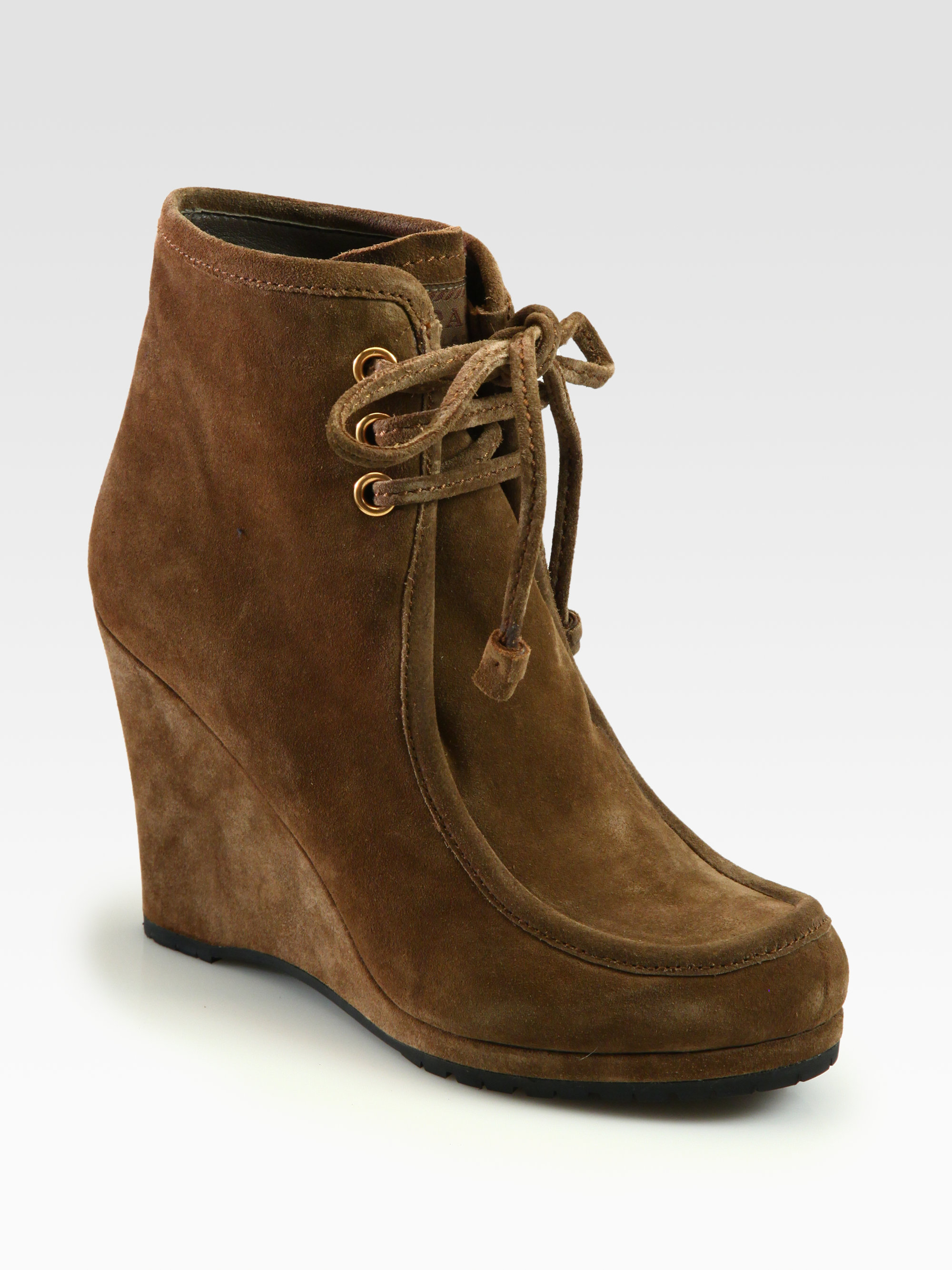 prada suede laceup wedge ankle boots in brown cigar lyst