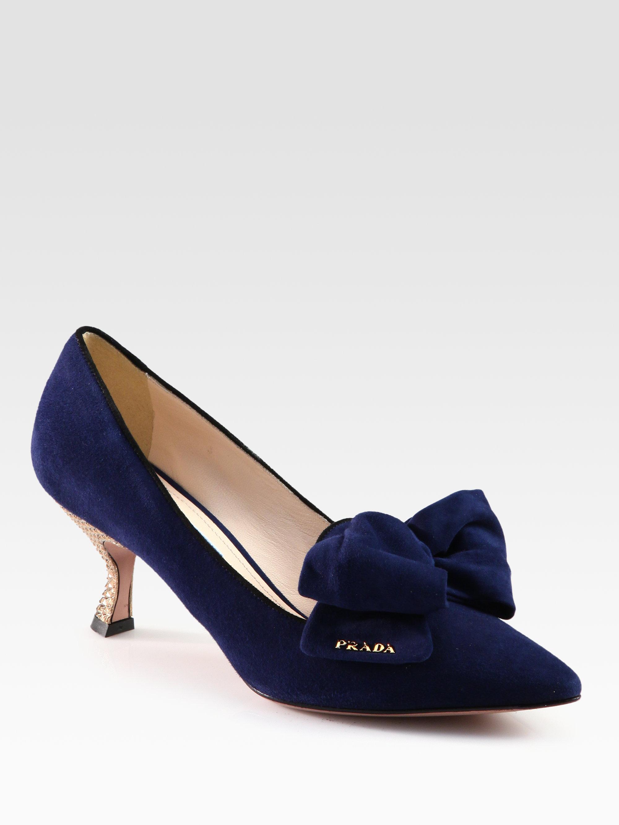 ea191972c6b Lyst - Prada Suede Bow Pumps in Blue