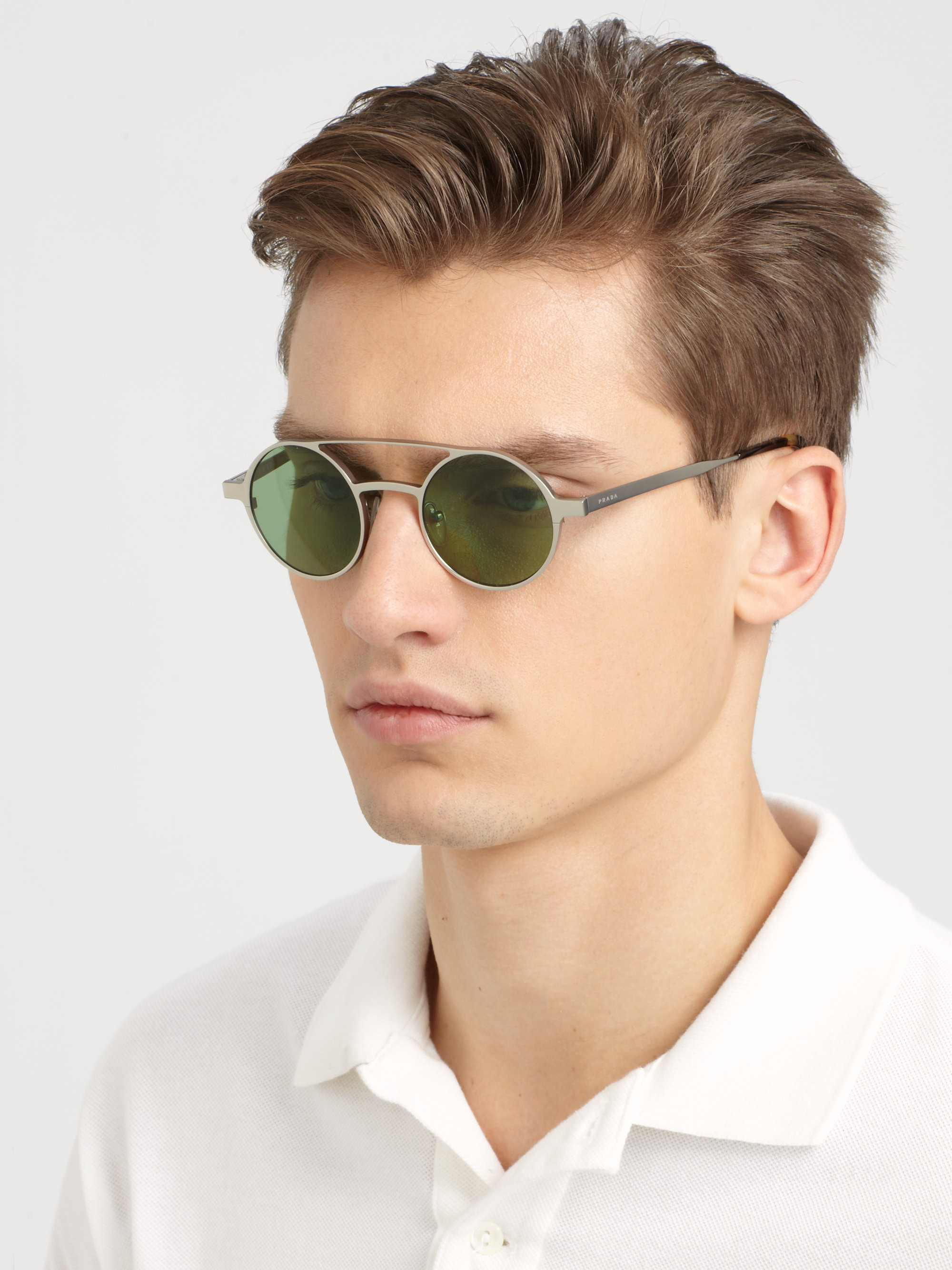4730368f4c ... promo code for lyst prada metal doublebridge round sunglasses in  metallic for men 5306a 10cf0