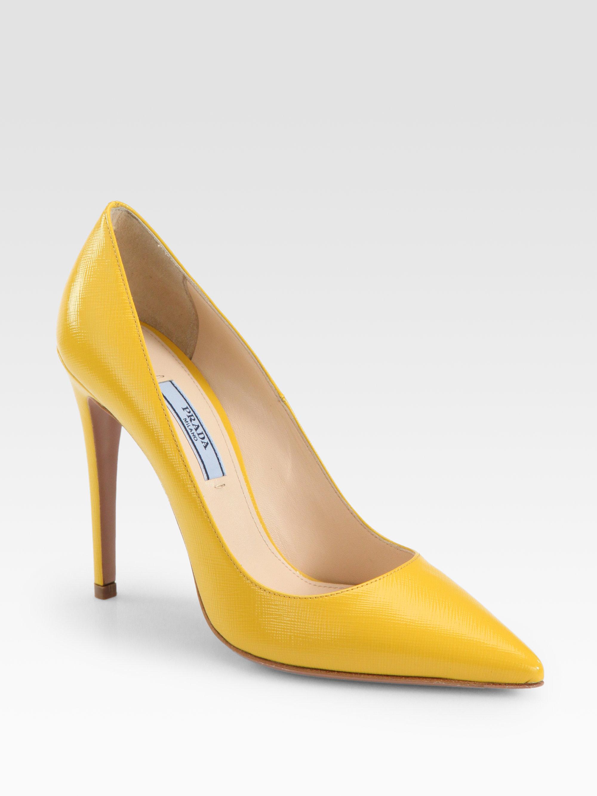 Lyst Prada Saffiano Leather Pumps In Yellow