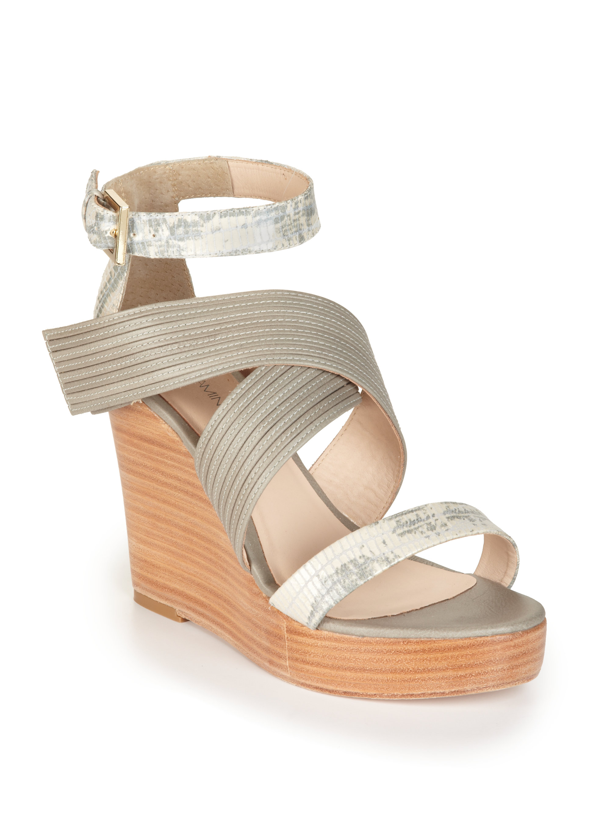 minkoff bombshell wedge sandals in gray grey lyst