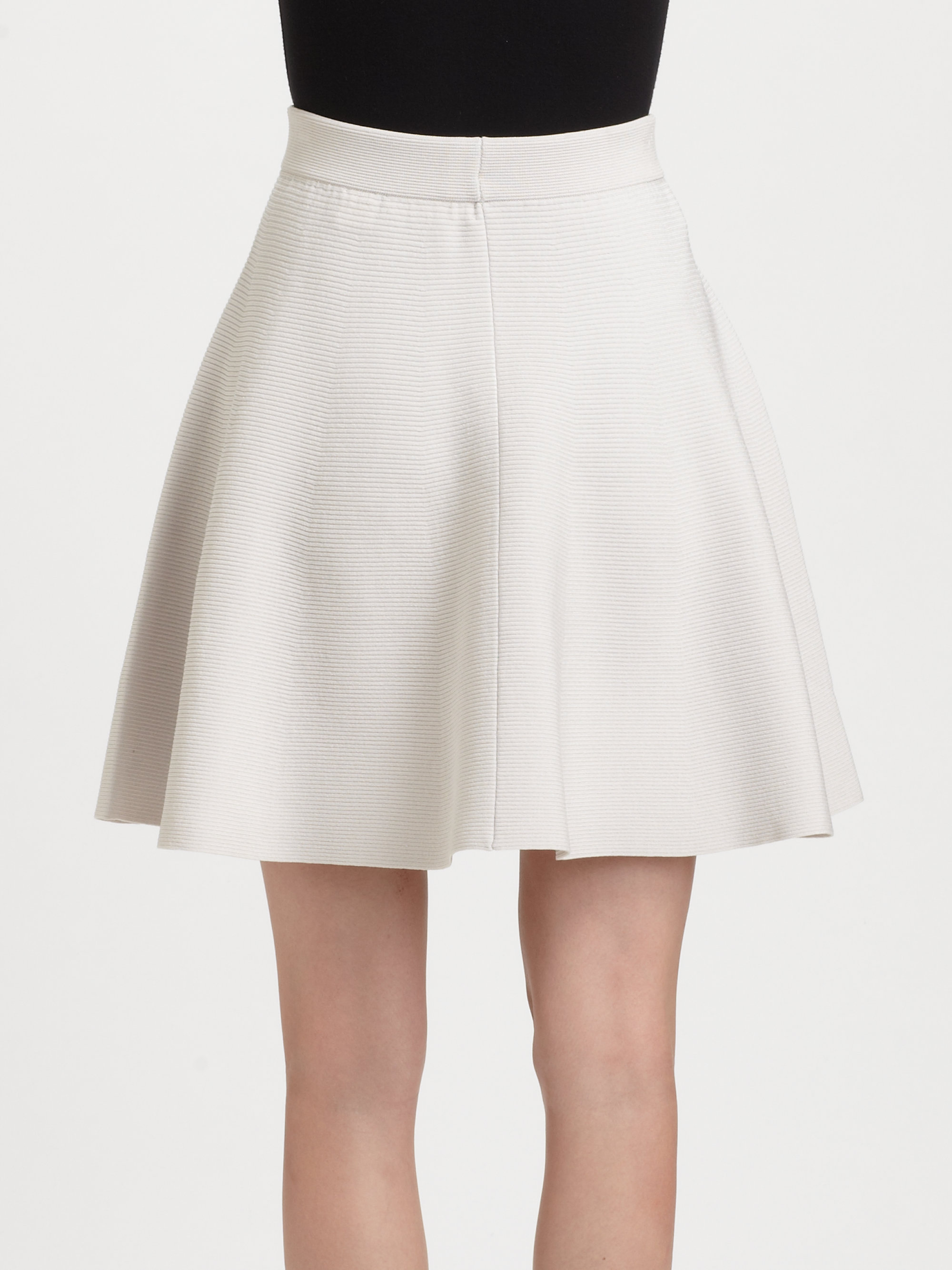 Rebecca taylor Knit Flared Skirt in White | Lyst