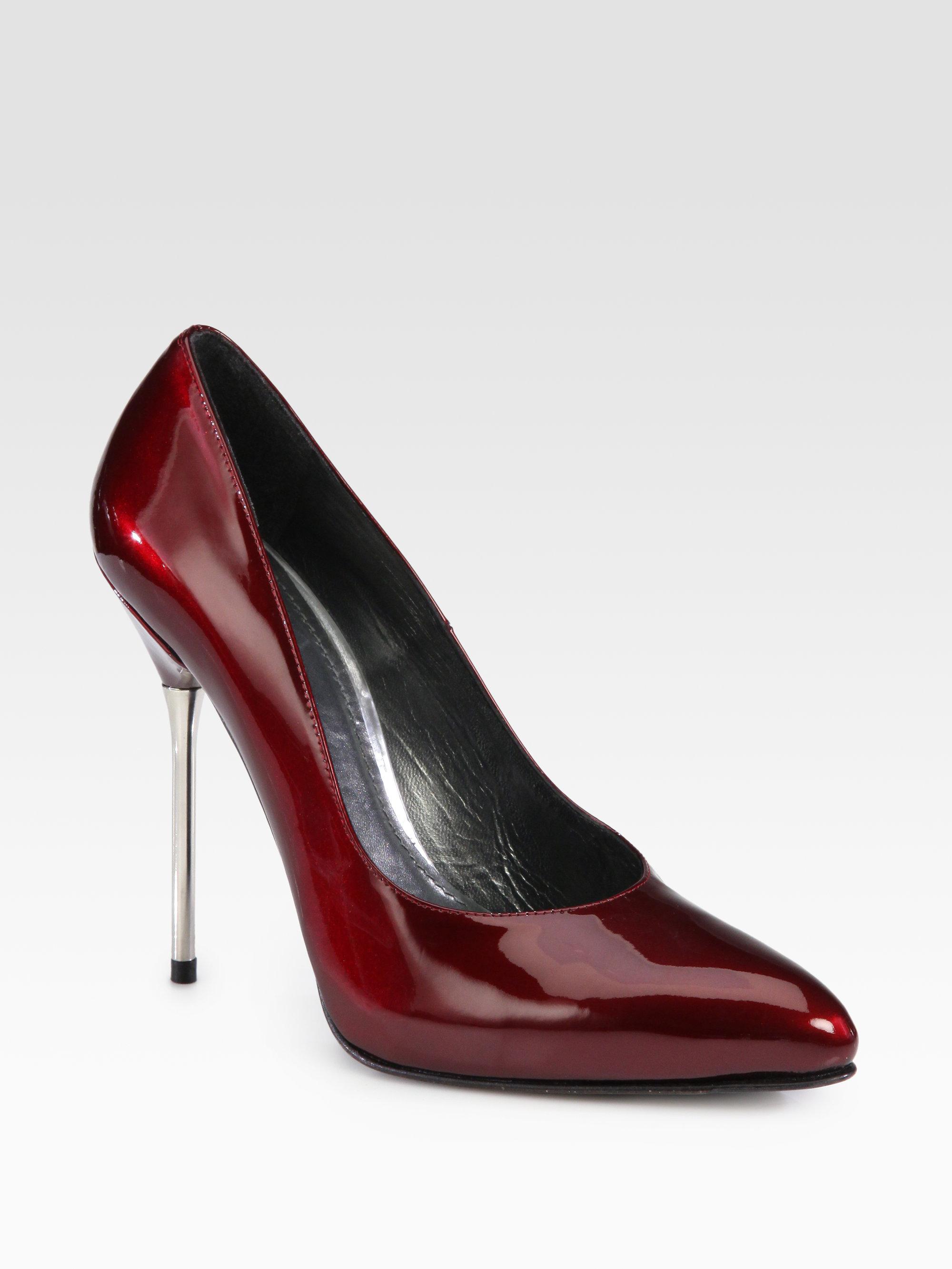 fb8731282ea Lyst - Stuart Weitzman Dagger Patent Leather Metal Heel Pumps in Red