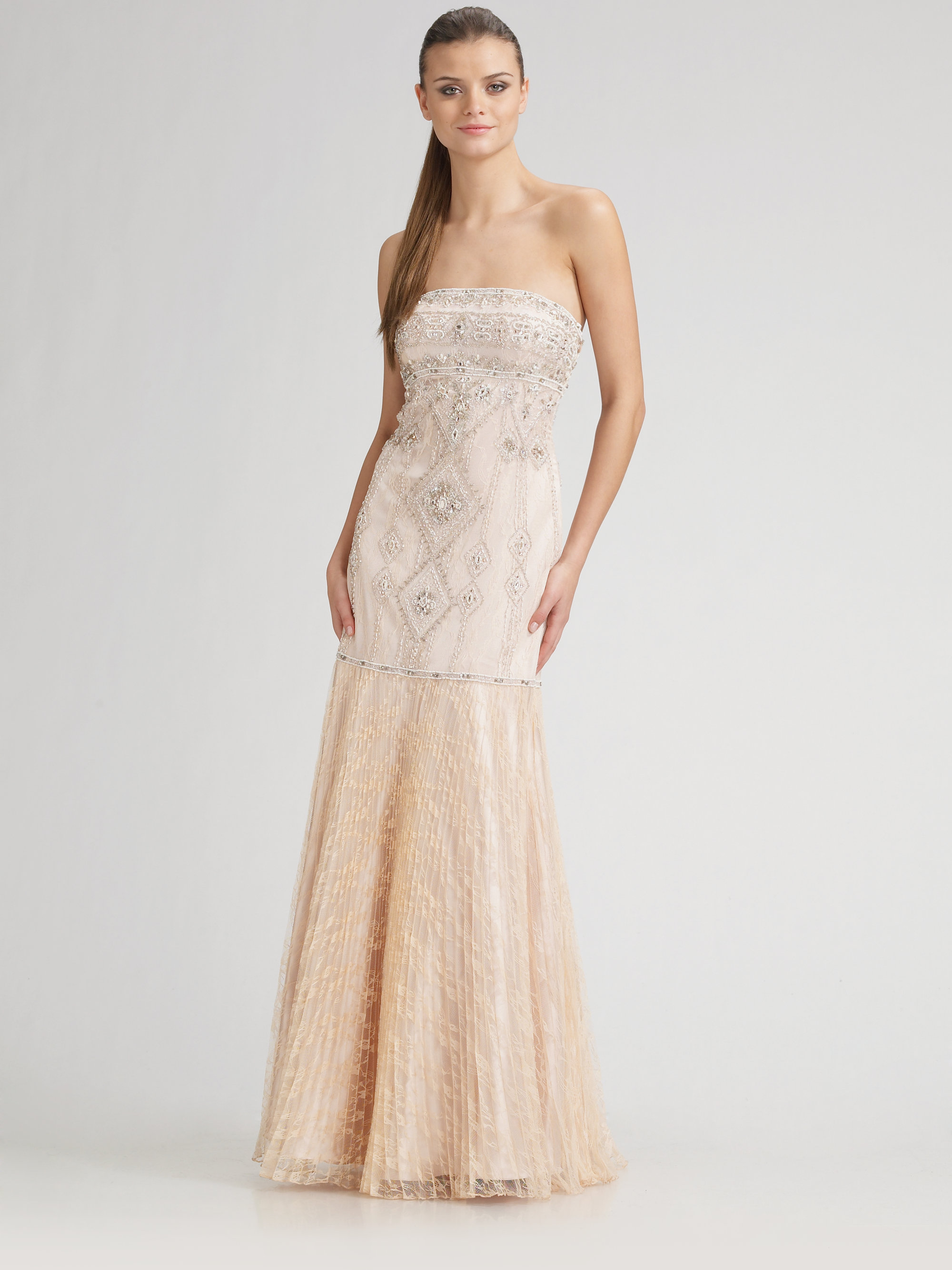 Lyst - Sue Wong Strapless Beaded Gown in Natural