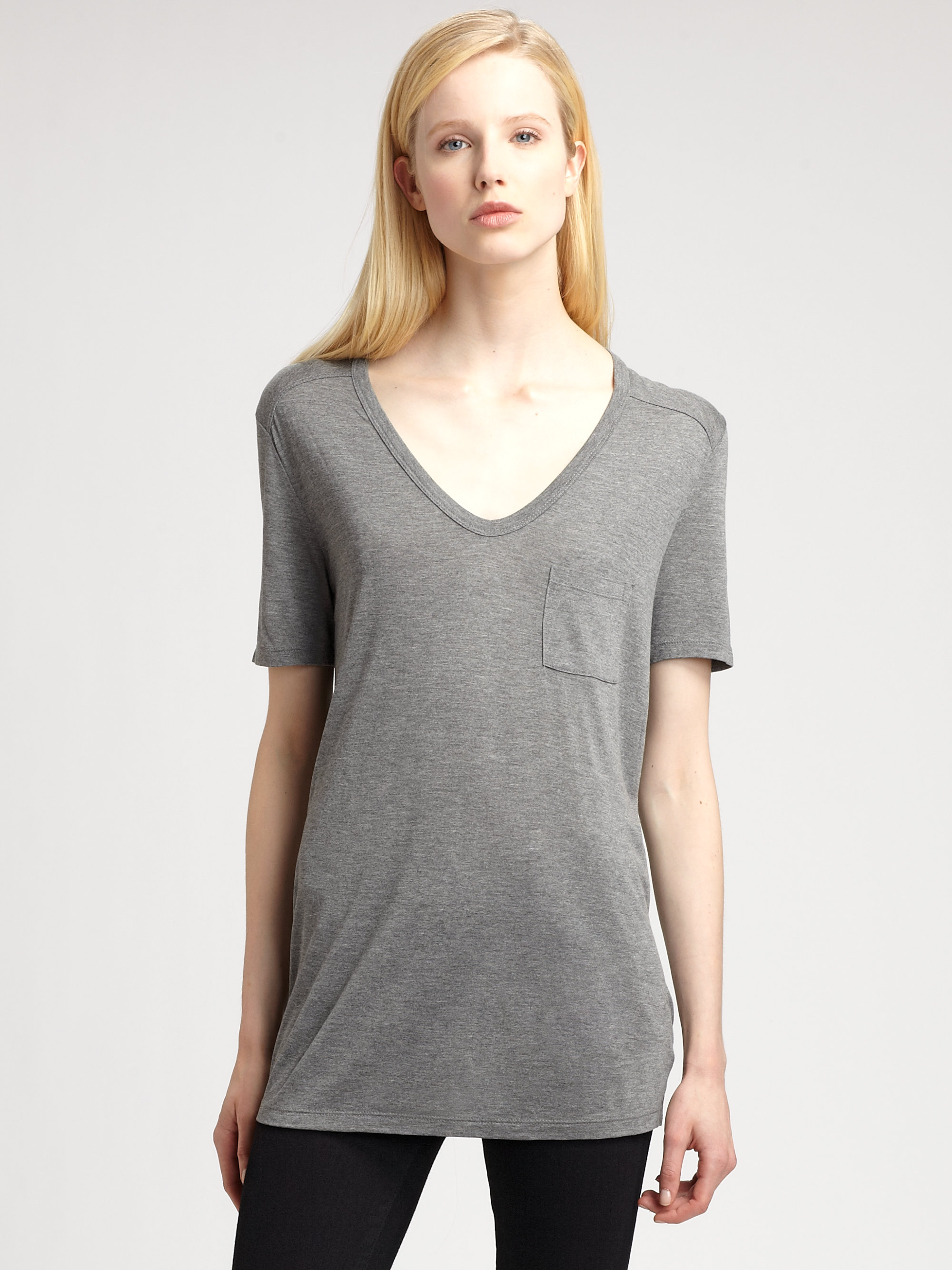 Lyst t by alexander wang classic pocket tee in gray for Alexander wang t shirts