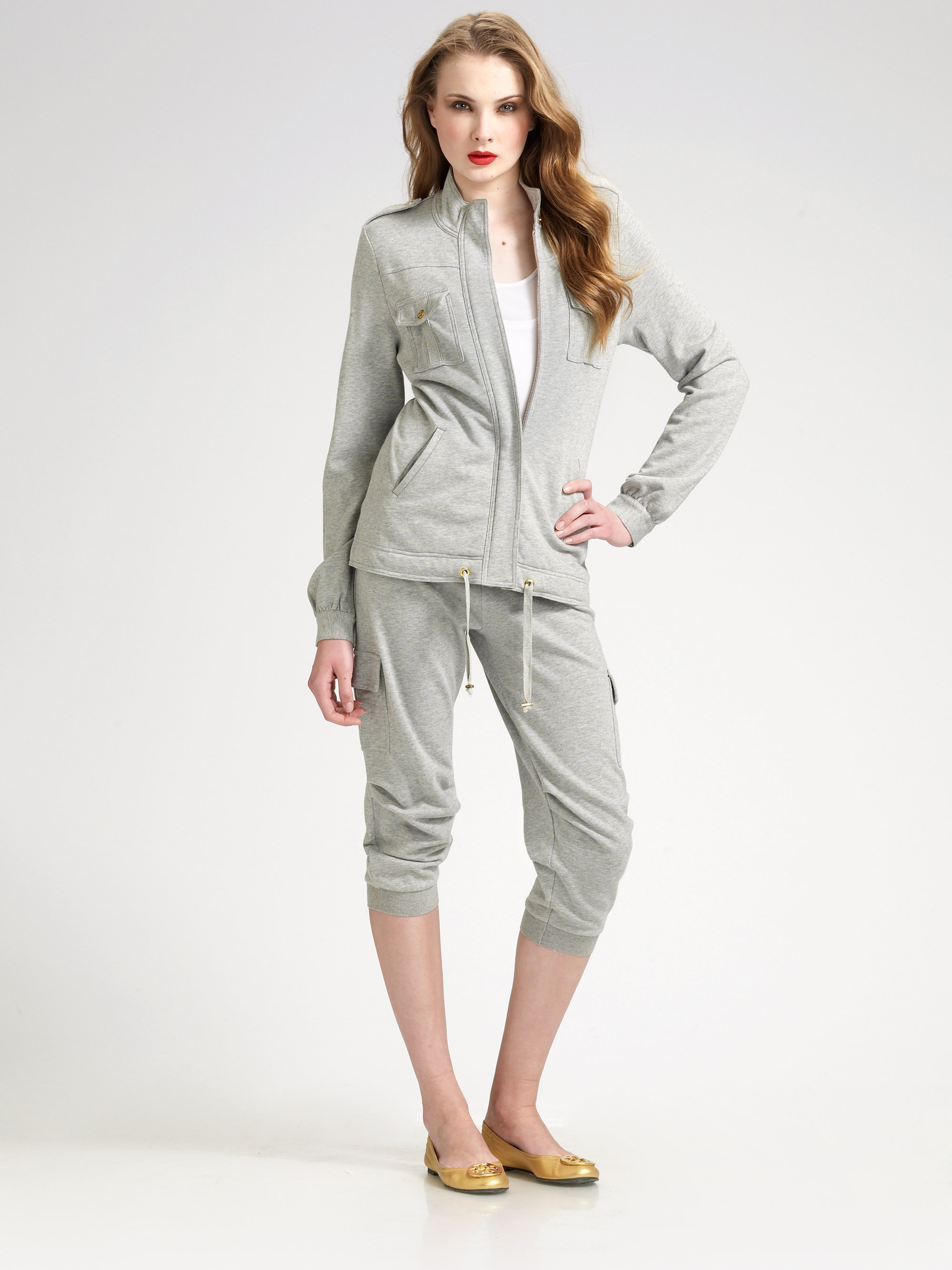 tory burch halite french terry jacket in gray lyst