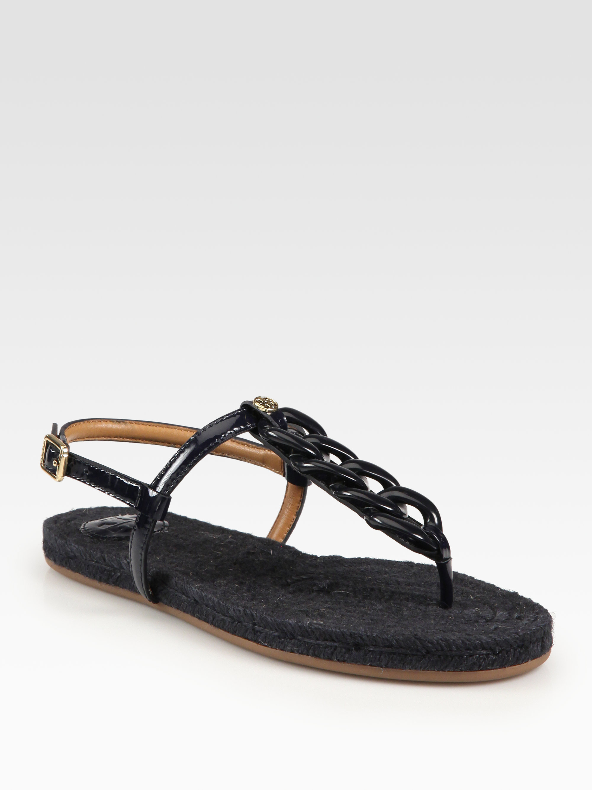 Tory Burch Altha Patent Leather Thong Sandals In Black