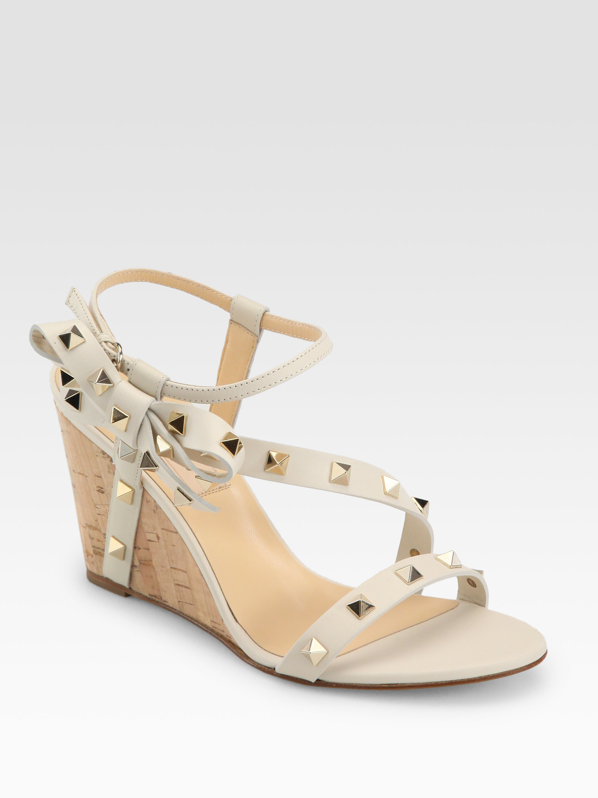 Valentino Studded Leather Side Bow Cork Wedges In White Lyst