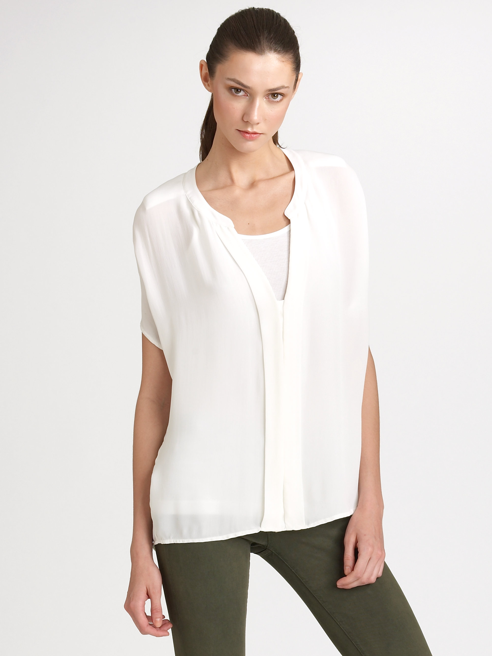 9d881c970253a Lyst - Vince Silk Blouse in White