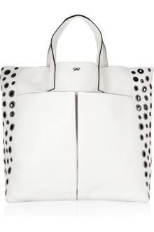 Anya Hindmarch Raw Nevis Eyeletembellished Leather Tote - Lyst