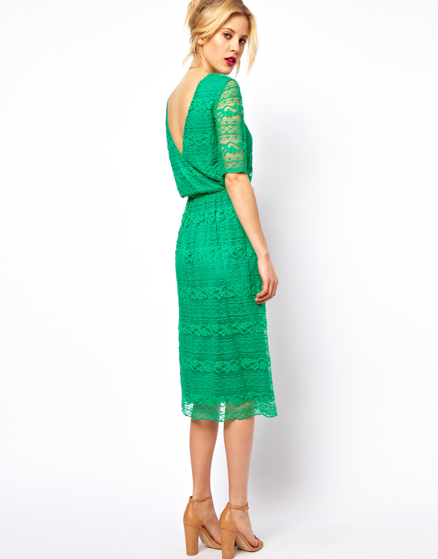 Asos Midi Dress in Lace with Wrap Back in Green | Lyst