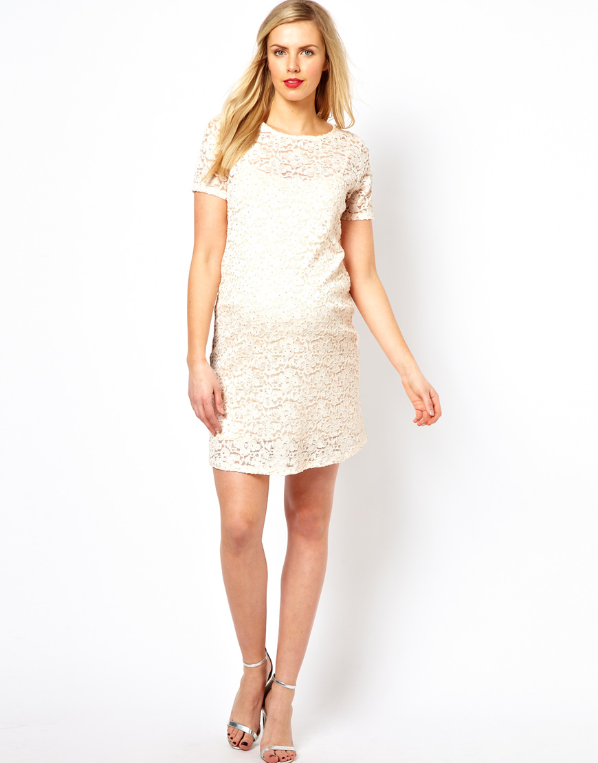Asos asos maternity shift dress in lace with sparkle detail in gallery ombrellifo Choice Image