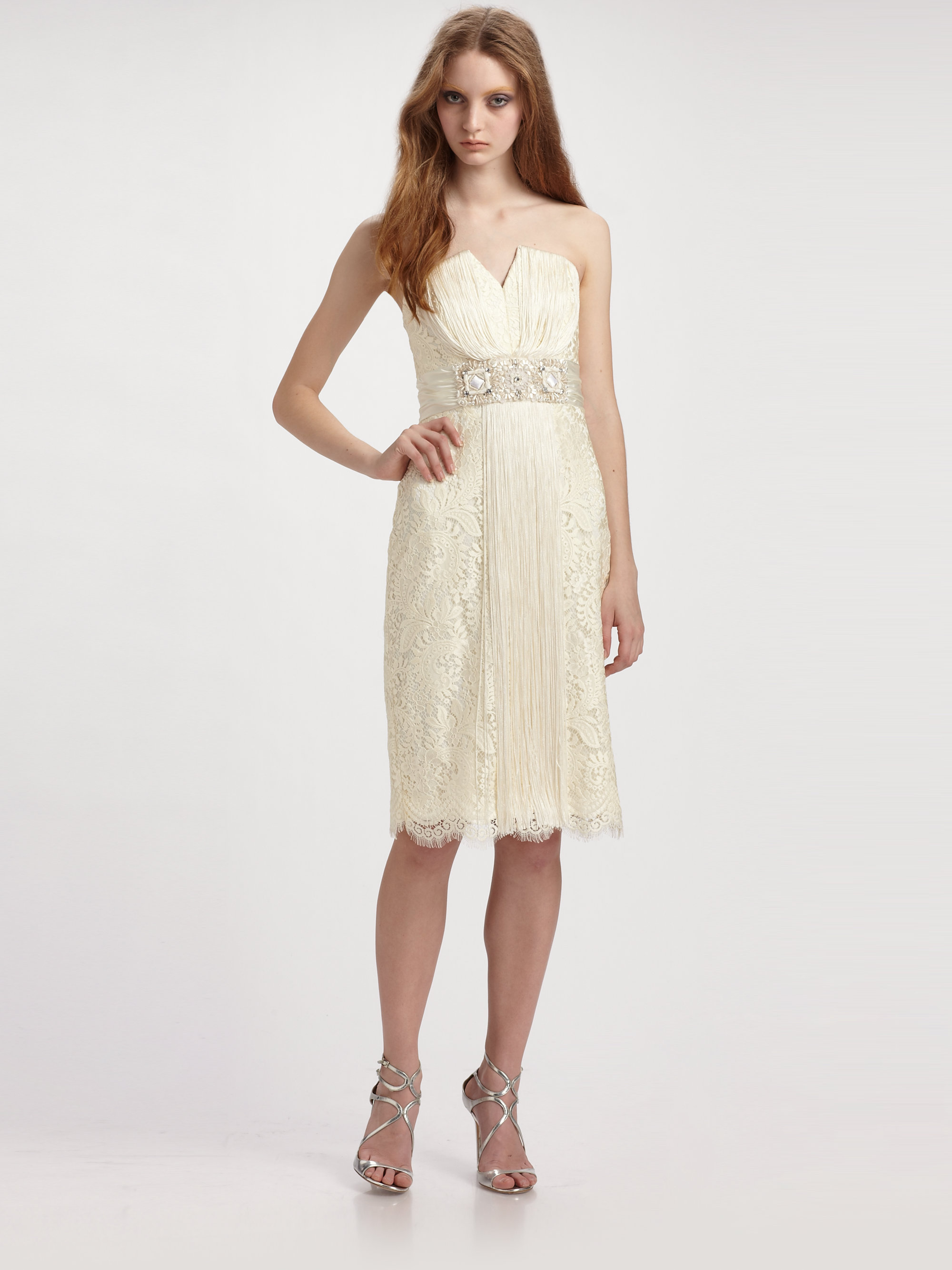 Lyst Badgley Mischka Strapless Lace Cocktail Dress In White