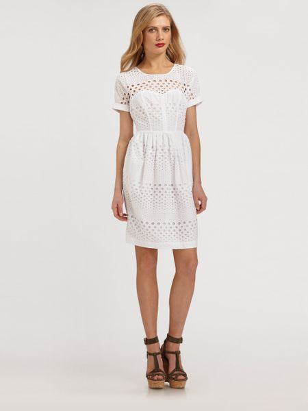 Unique Akris Punto Sleeveless Eyelet Dress White In White  Lyst
