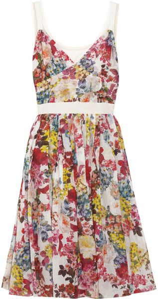 D&G Floral-Print Stretch-Cotton Dress - Lyst