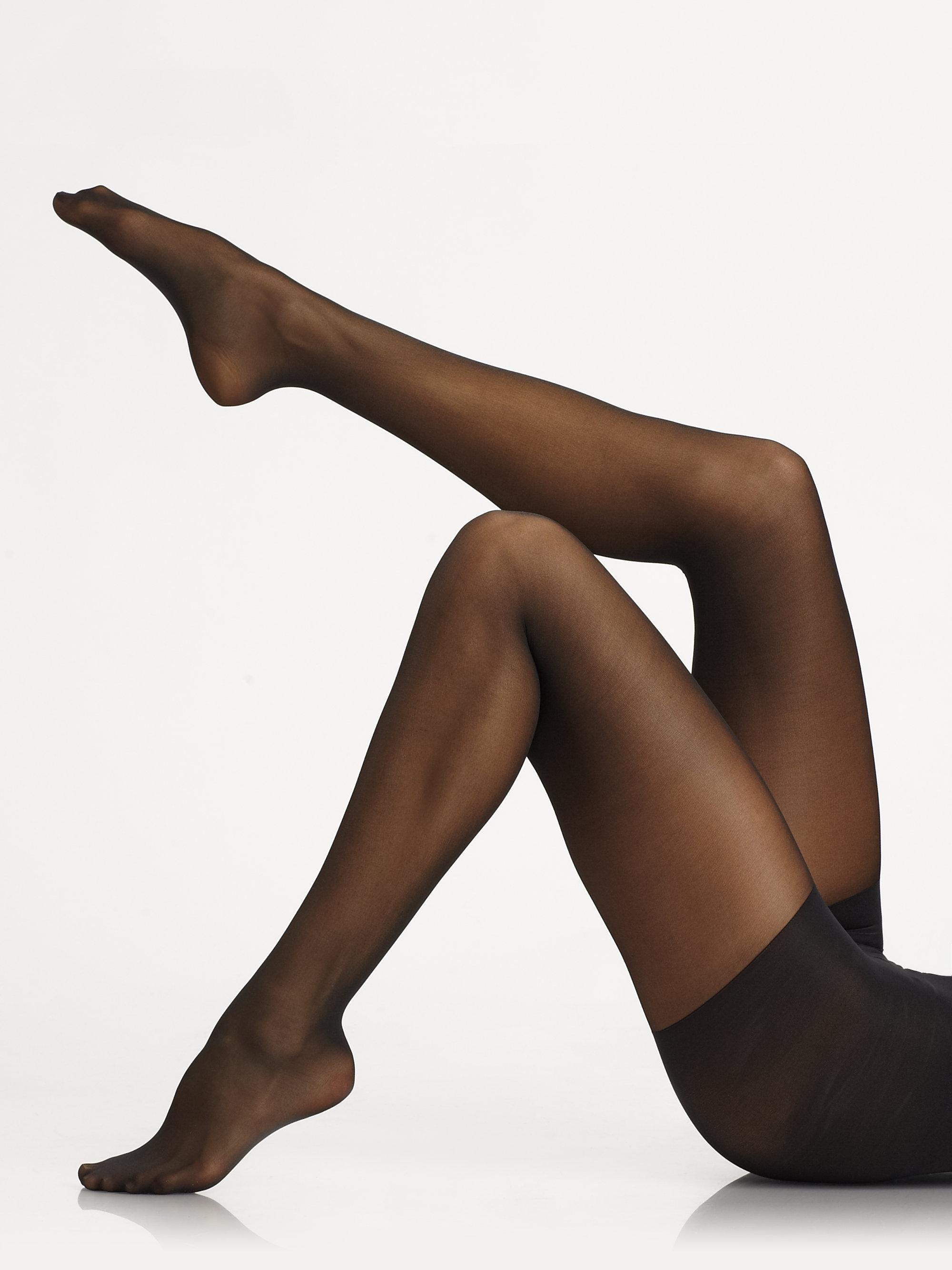 donna karan new york high waist satin sheer control hose in black lyst. Black Bedroom Furniture Sets. Home Design Ideas