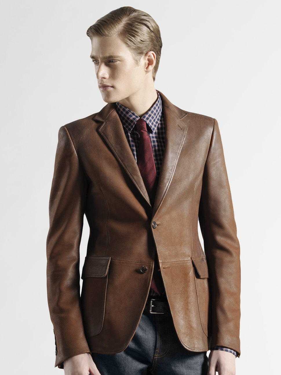 Gucci Leather Blazer in Brown for Men | Lyst