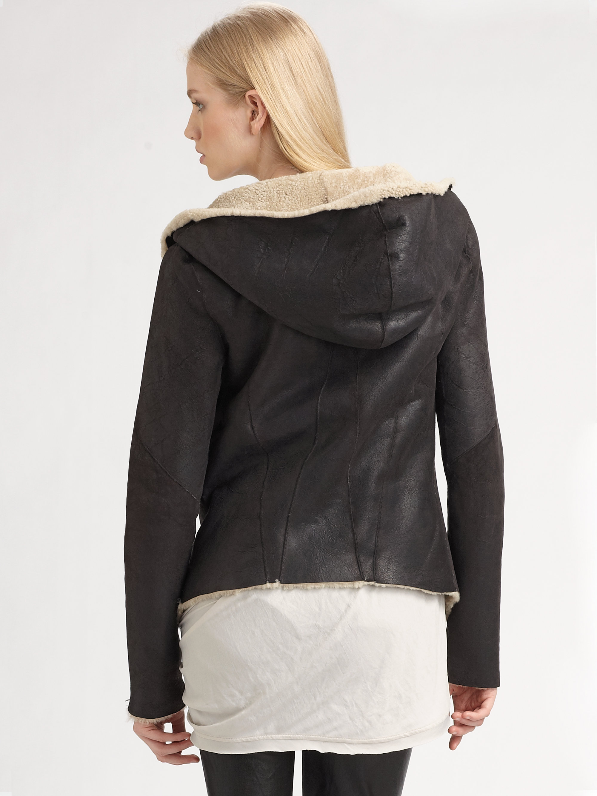 Helmut lang Hooded Shearling Leather Jacket in Black | Lyst