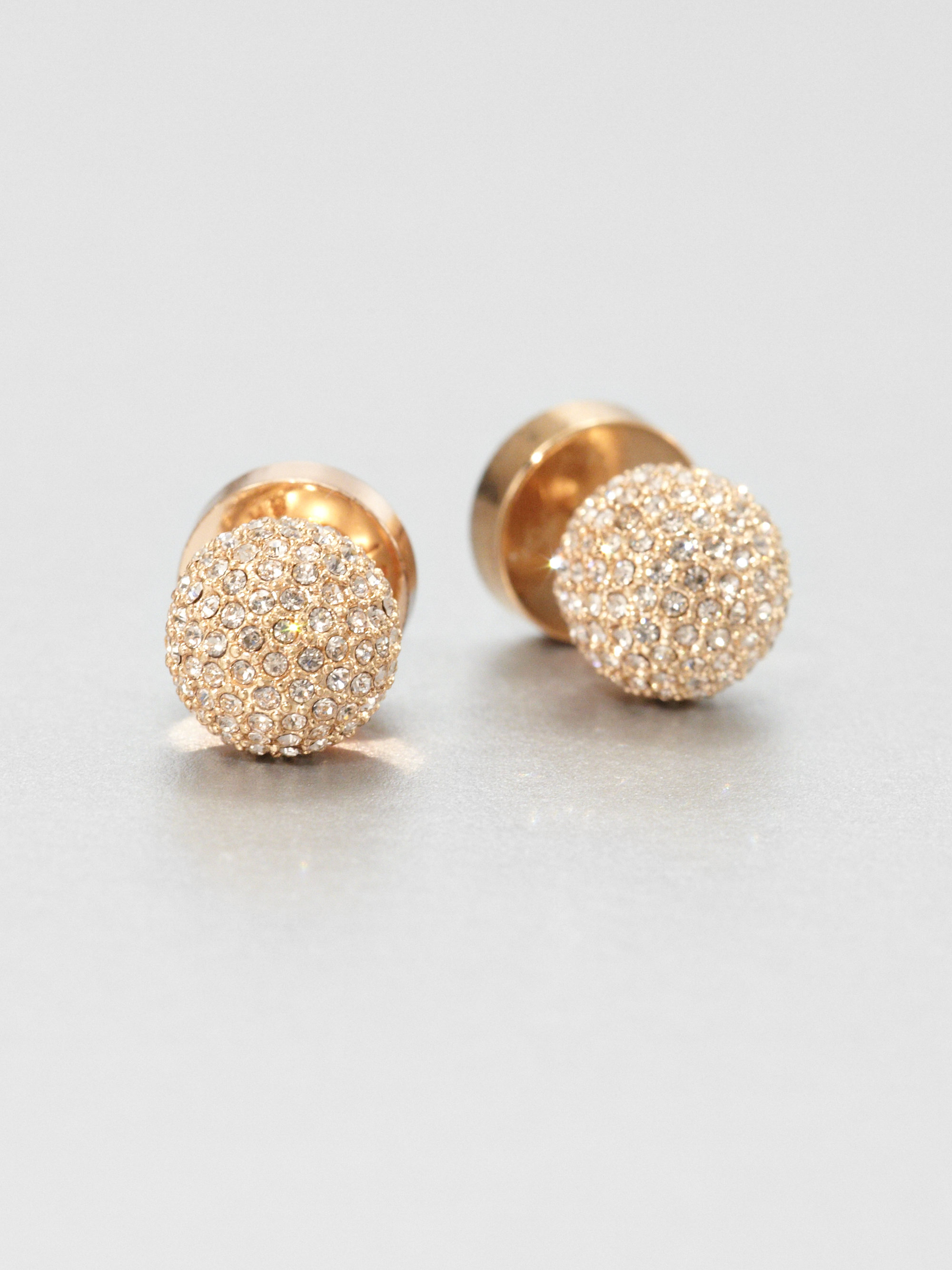 5ba6725651b477 Michael Kors Pavé Ball Stud Earrings-rose Gold-tone in Metallic - Lyst