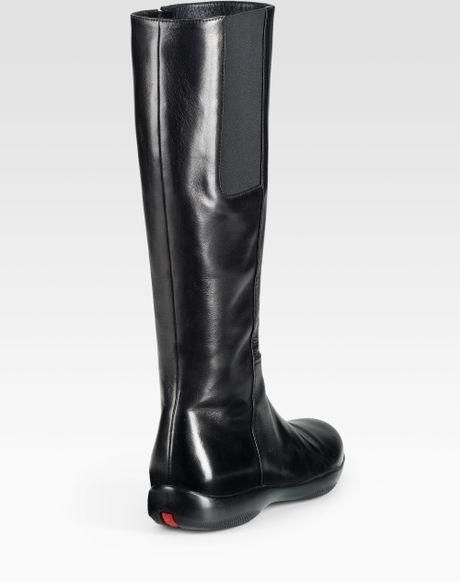prada flat boots in black lyst
