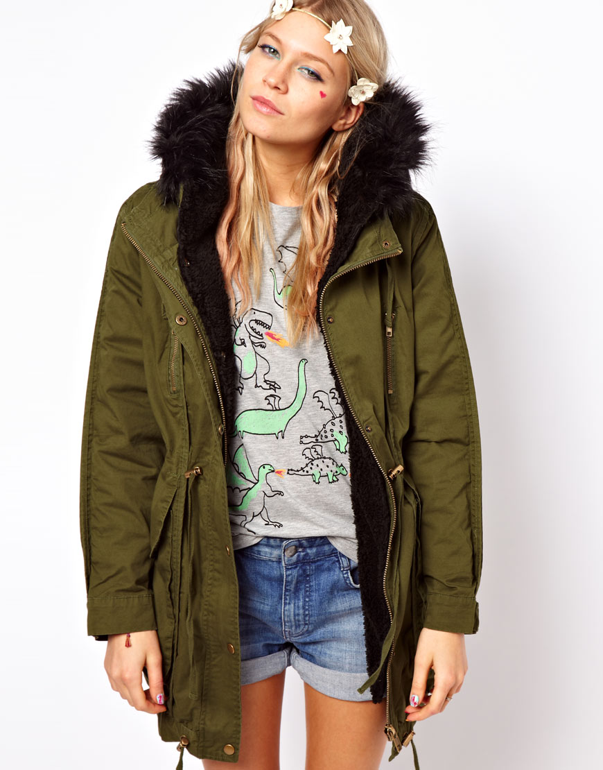 Asos collection Asos Fur Hooded Detachable Lined Parka with Black ...