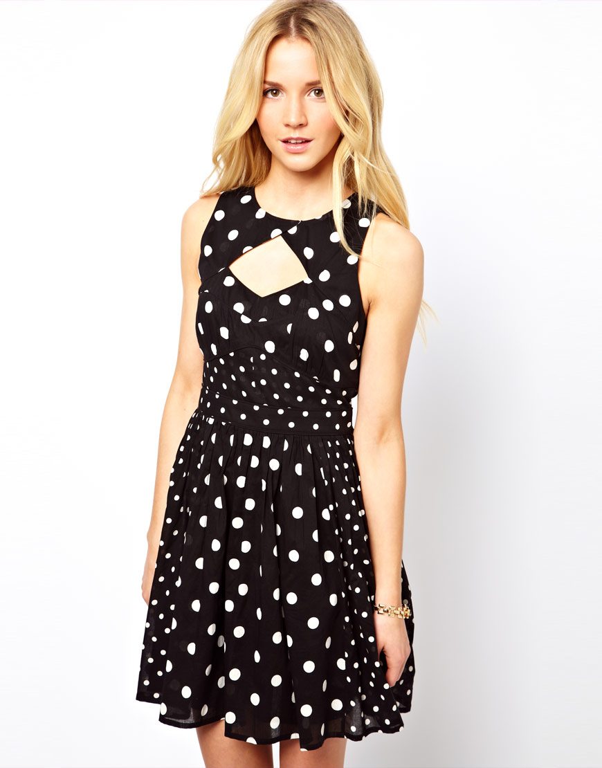 Asos Collection Asos Peplum Top In Sequin In Natural: Asos Collection Sundress In Spot Print In Black