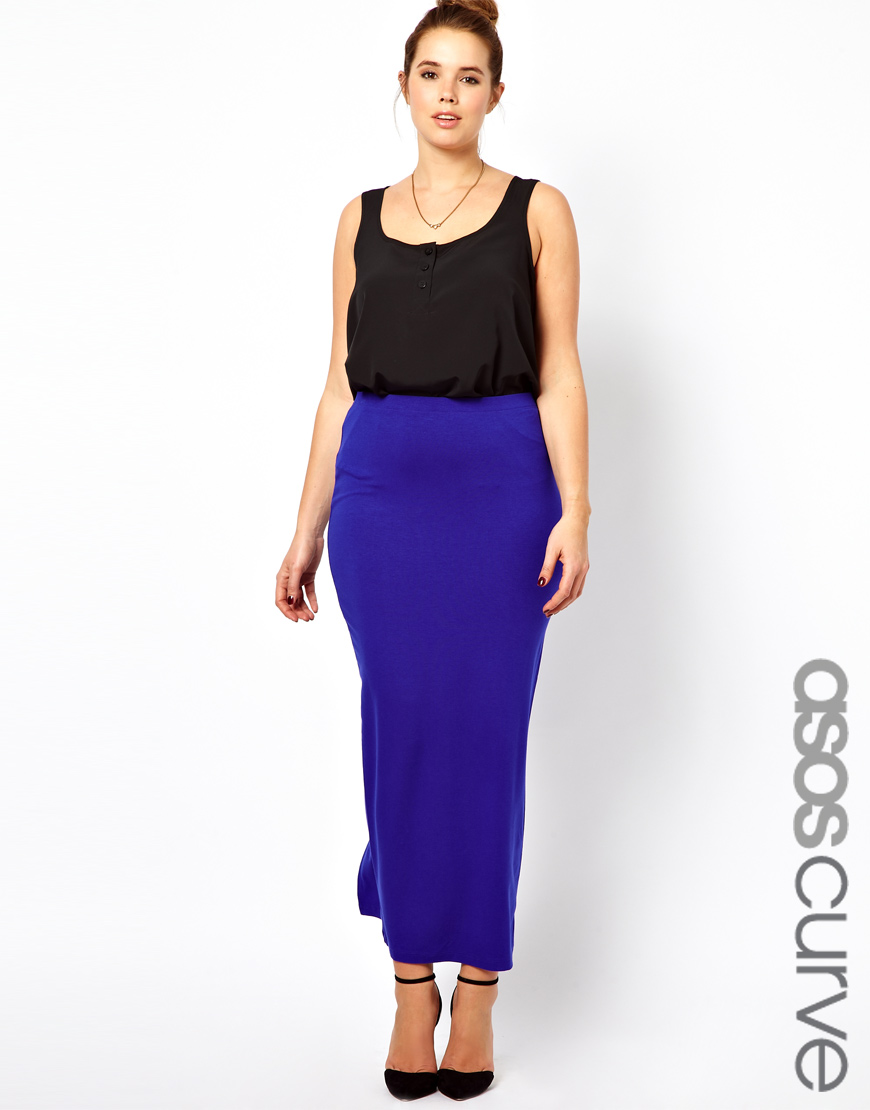 asos curve exclusive maxi skirt in jersey in blue cobalt