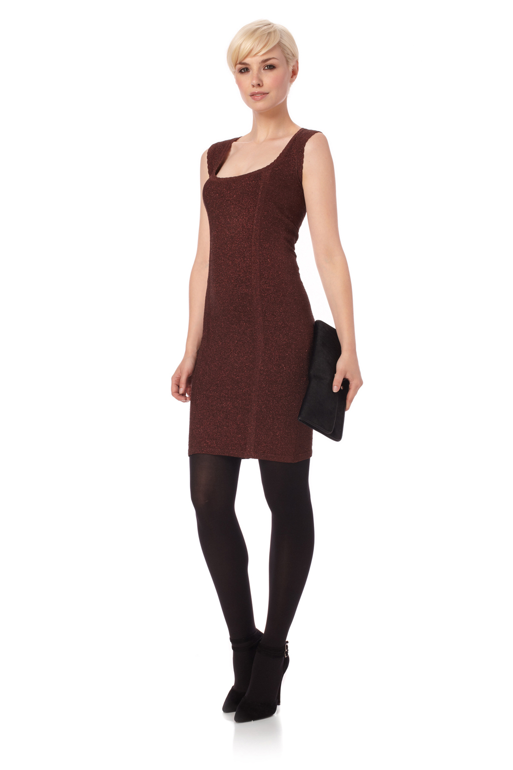 French connection dani lurex knits dress in red lyst for French connection shirt dress