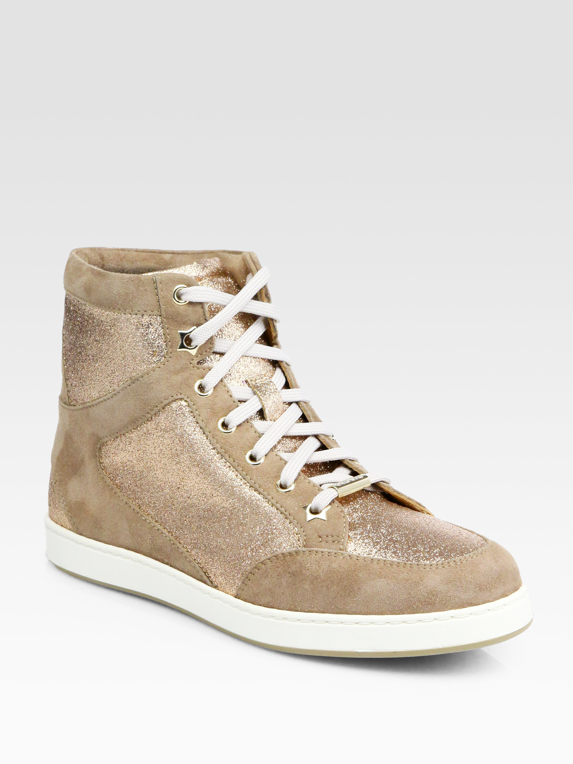bd467975a8f9f2 ... black leather low top trainers fbc1e 86625; australia lyst jimmy choo  tokyo glitter suede hightop sneakers in natural d0cbf f6b77