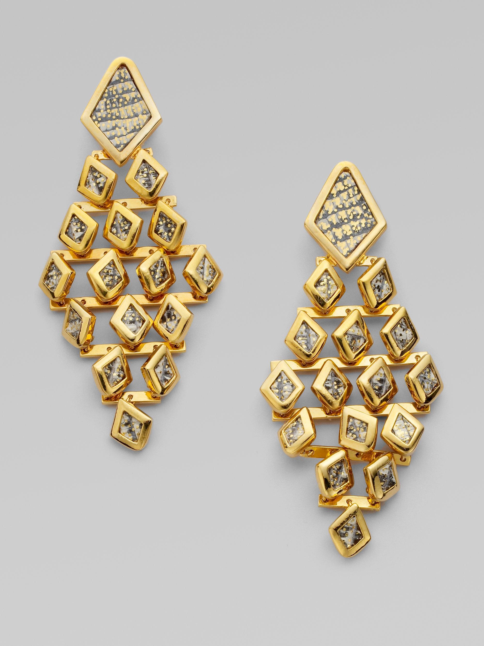 Lyst Kara ross Dragon Scale Chandelier Earrings in Metallic