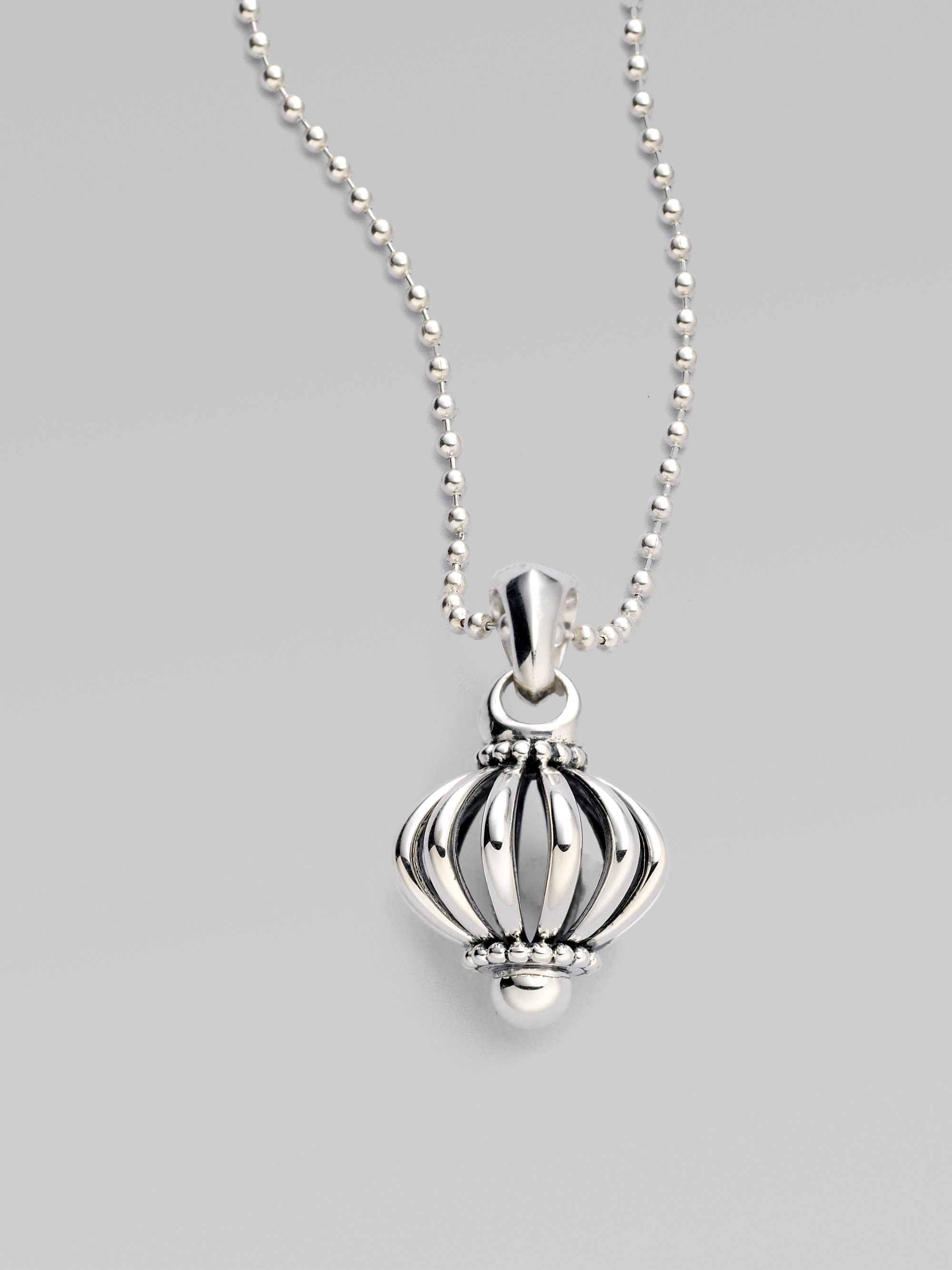 Lyst Lagos Sterling Silver Birdcage Necklace In Metallic