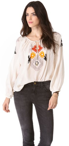 Love Sam Beaded Ikat Top - Lyst