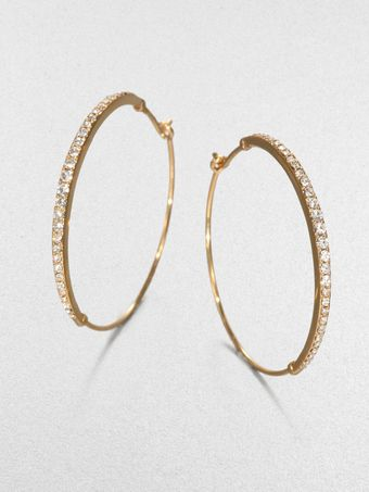 Michael Kors Pavé Hoop Earrings Goldtone - Lyst