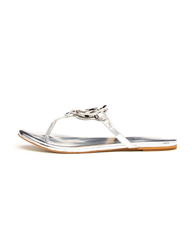 2a0fd16586f Lyst - Michael Kors Melodie Metallic Logo Thong Sandal in Metallic