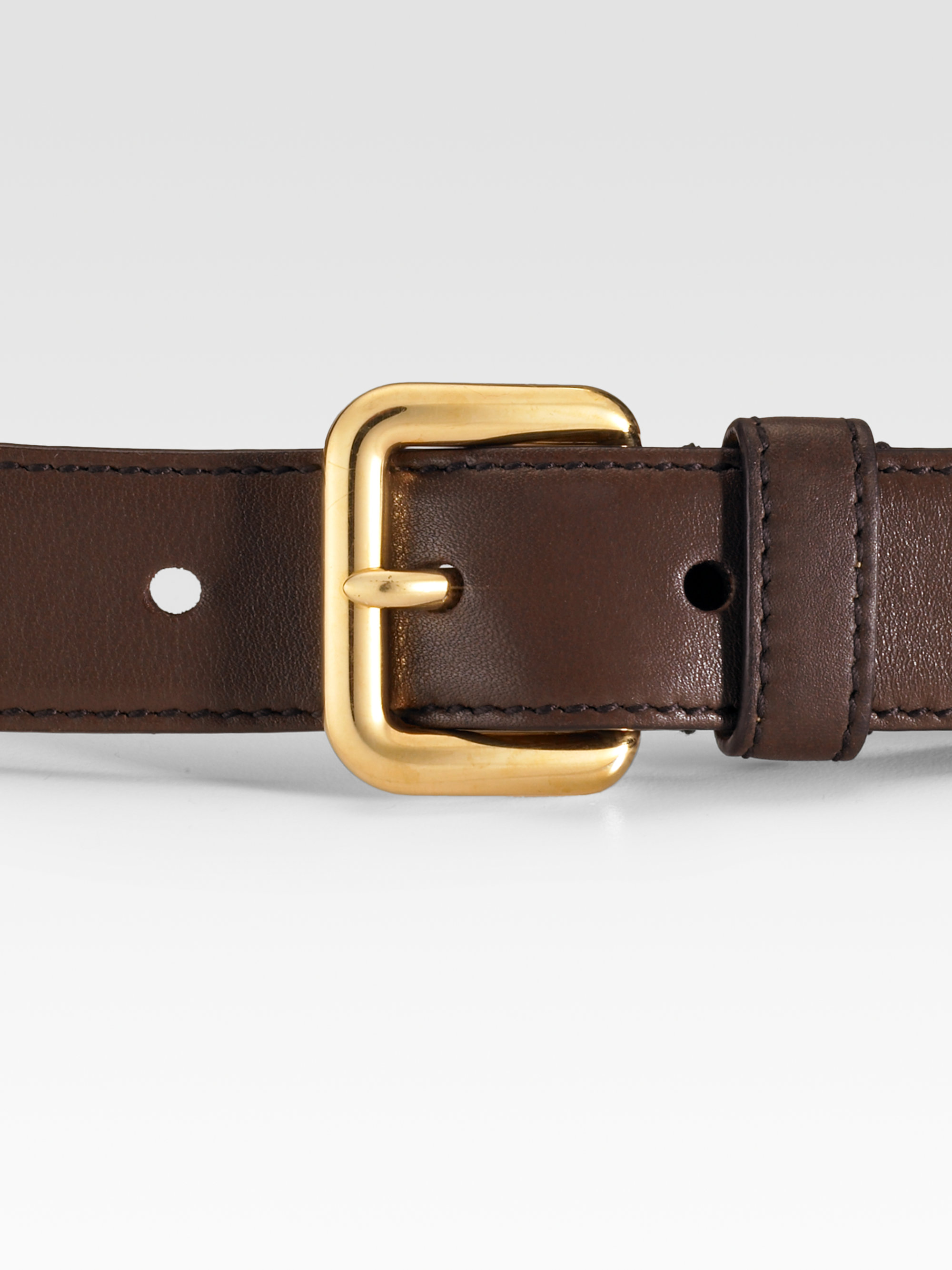 Prada Skinny Vitello Leather Belt in Brown | Lyst