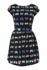 Pussycat Neon Butterfly Print Frill Dress