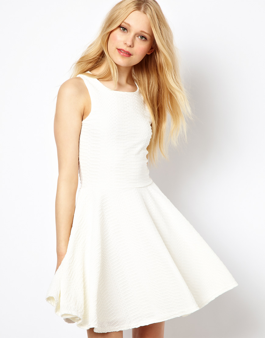 White Lace Skater Dress River Island