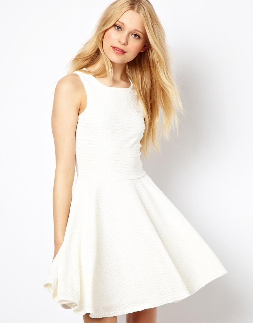 River island Textured Skater Dress in White | Lyst