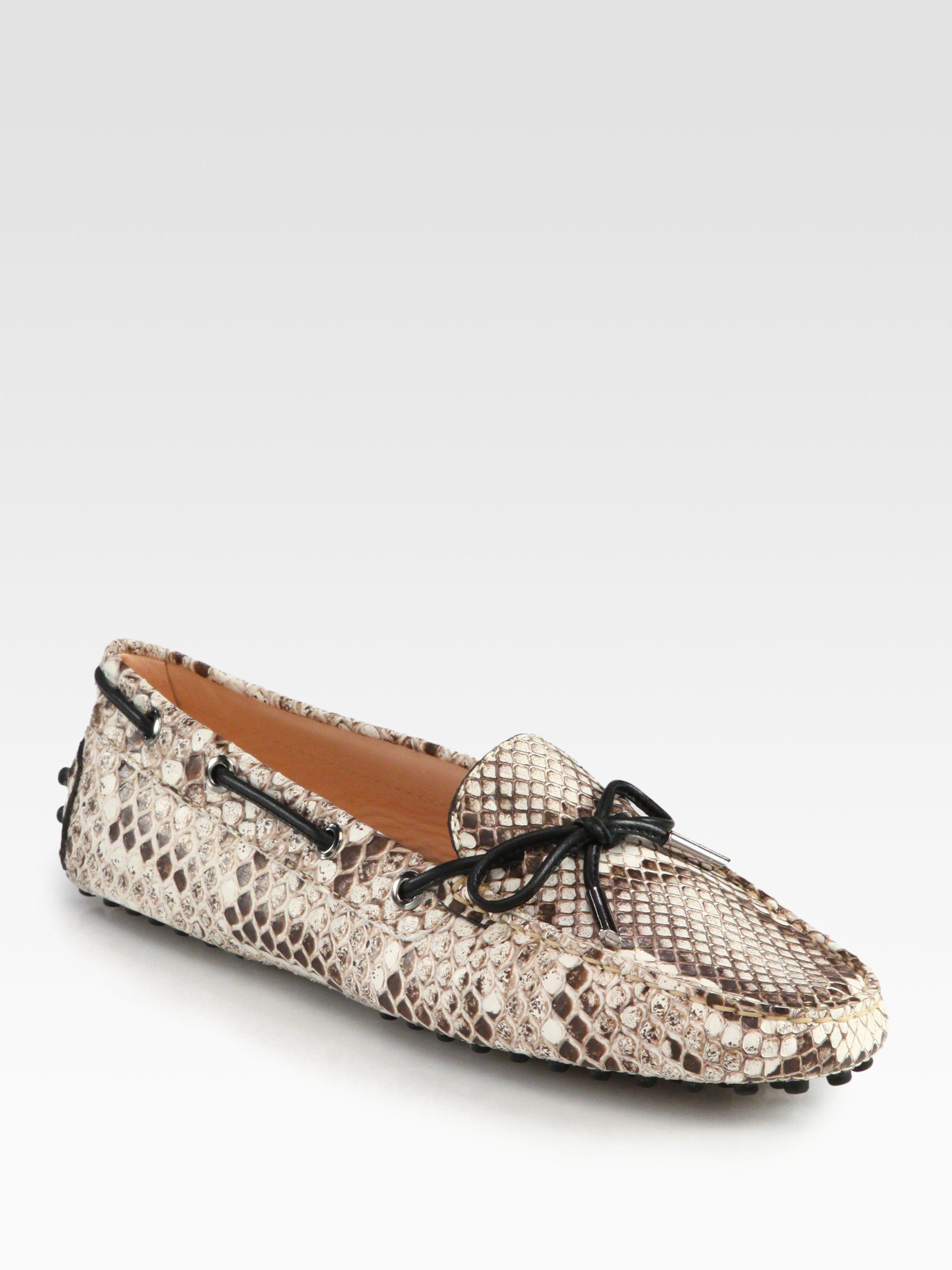 ccfea974bce Lyst - Tod s Snakeprint Leather Moccasin Loafers in White