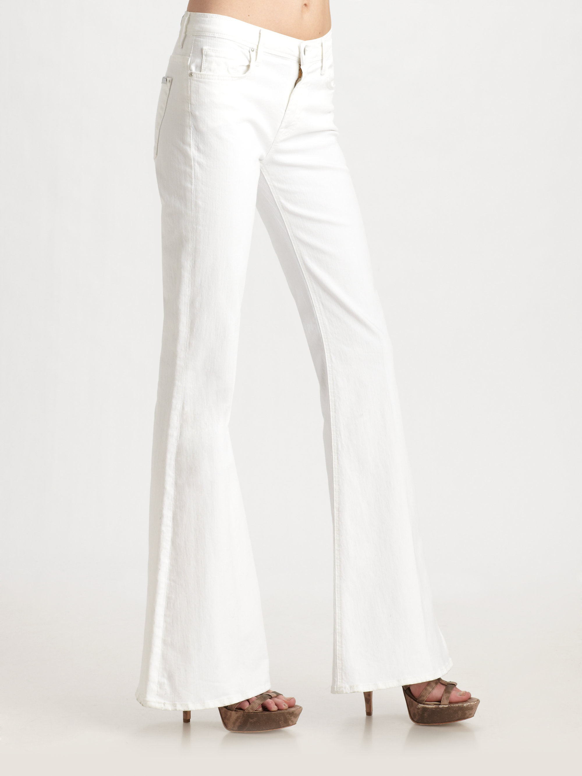 Five Star App >> Lyst - 7 For All Mankind Bell Bottom Jeans in White